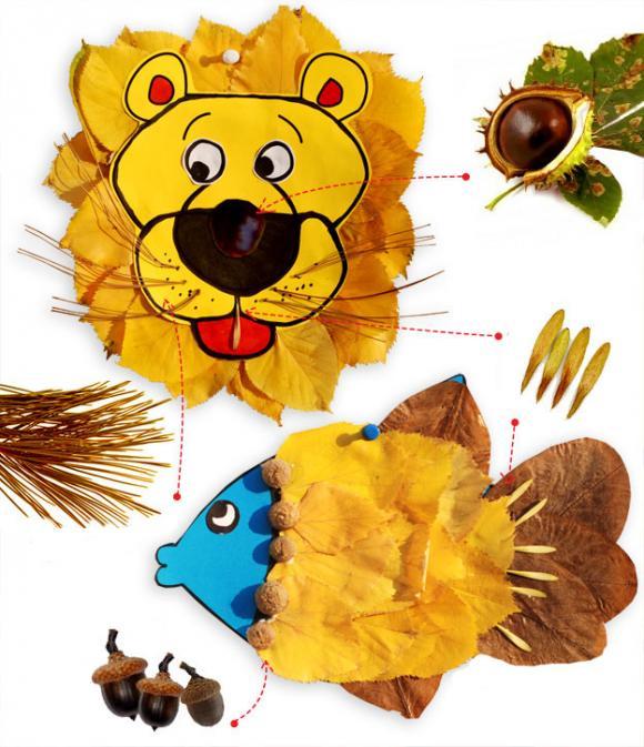 Осенняя поделка лев
