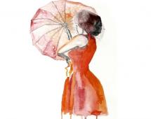 Женщина с зонтом в акварели