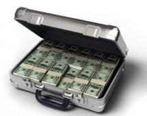 Открытый контейнер с деньгами