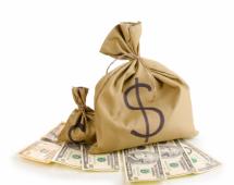 Большой мешок с долларами