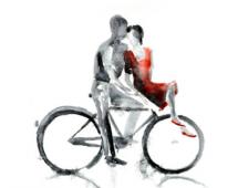 Парочка на велосипеде в акварели