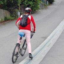 Велосипедист на подъёмнике